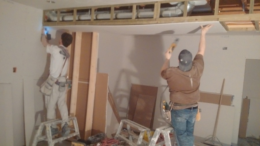 Pinning drywall is a breeze for the pros at Glacier Drywall Systems Inc.